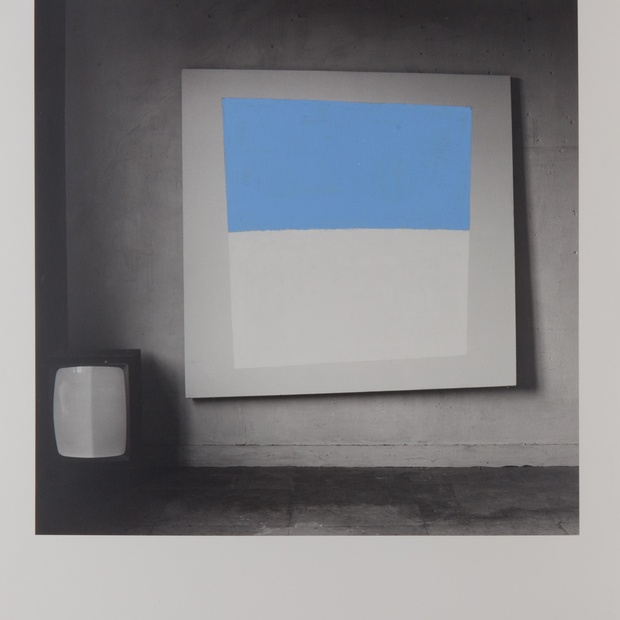 Studio and Monitor, 1981, acrylic on black-and-white print, 40 x 30 cm.